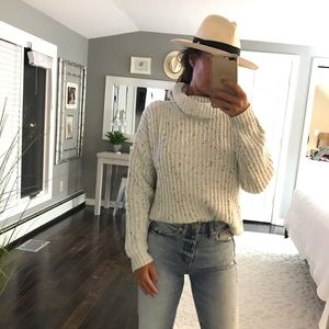 LUSH gray with black speckles turtleneck sweater